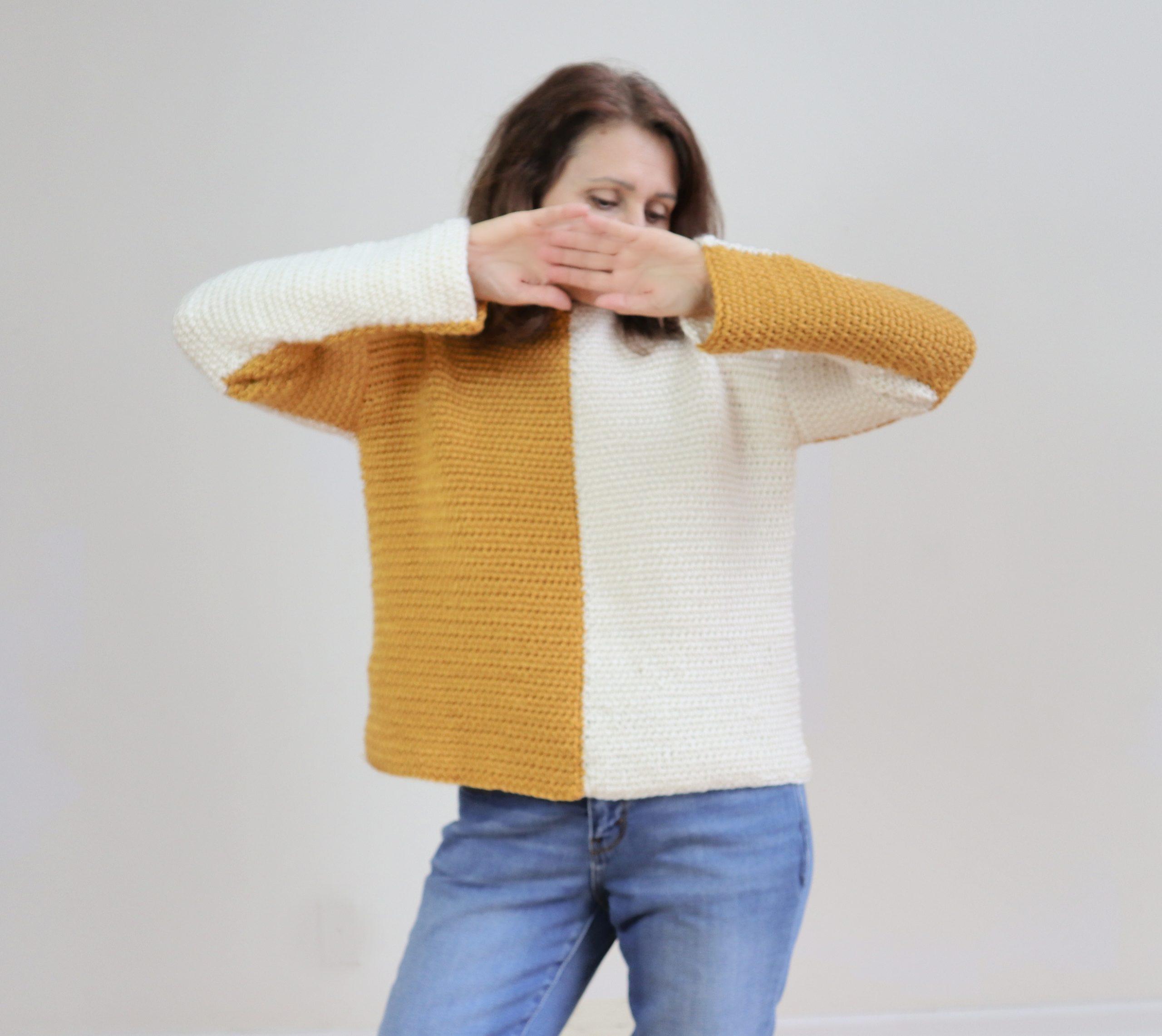 suéter de bloque de color de ganchillo