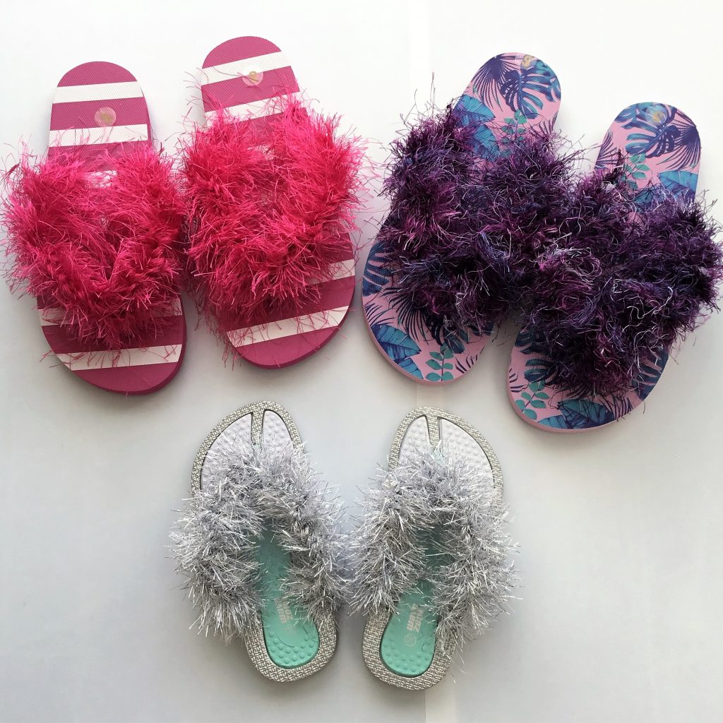 """a1a7305c05aa69 This photo doesn t do justice to the yarn. The sea foam green kids flip  flops have a """"metallic"""" sole and the yarn is also """"metallic"""" silver. SO  cool!"""